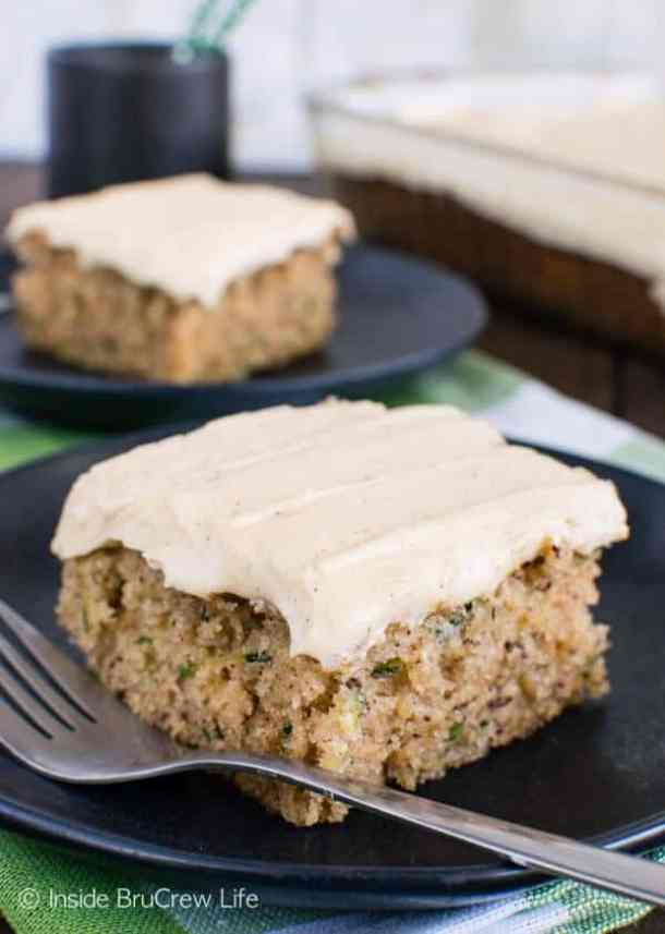 ZUCCHINI BANANA CAKE WITH CARAMEL FROSTING -- Part of our 18 Recipes that prove that CARAMEL and BANANAS were meant to go together!
