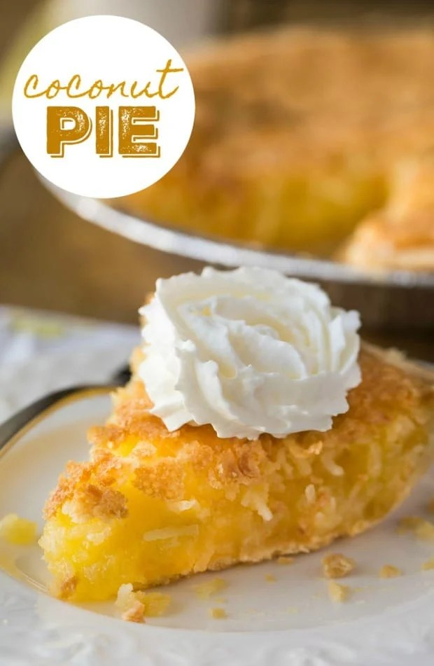 This Coconut Pie is just like grandma used to make. It has simple ingredients that I bet you have right now in your pantry! I used a frozen pie shell to save time, but feel free to make your own crust if you're feeling up to it.