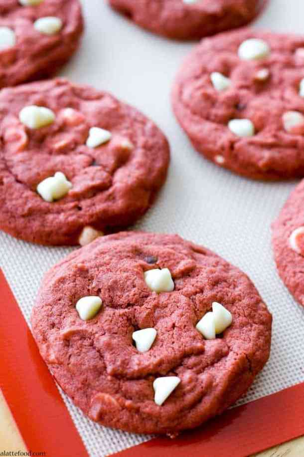 Red Velvet White Chocolate Chip Cookies -- Part of the Valentines Day Dessert