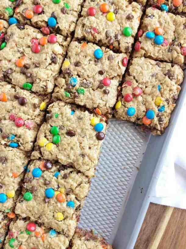 No Flour Monster Cookie Bars-- Part of M&M Monster Dessert Recipes that your kids will love!