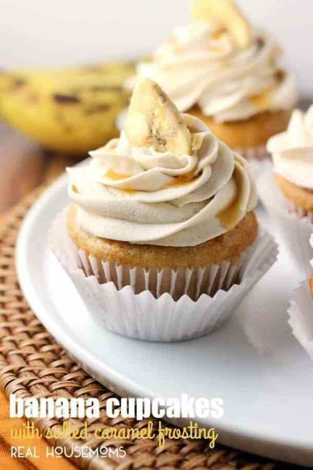 Banana Cupcakes with Salted Caramel Frosting -- Part of our 18 Recipes that prove that CARAMEL and BANANAS were meant to go together!