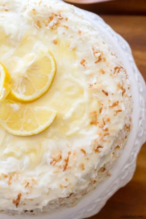LEMON COCONUT CAKE--31+ COCONUT DESSERTS THAT WILL SATISFY YOUR SWEET TOOTH!