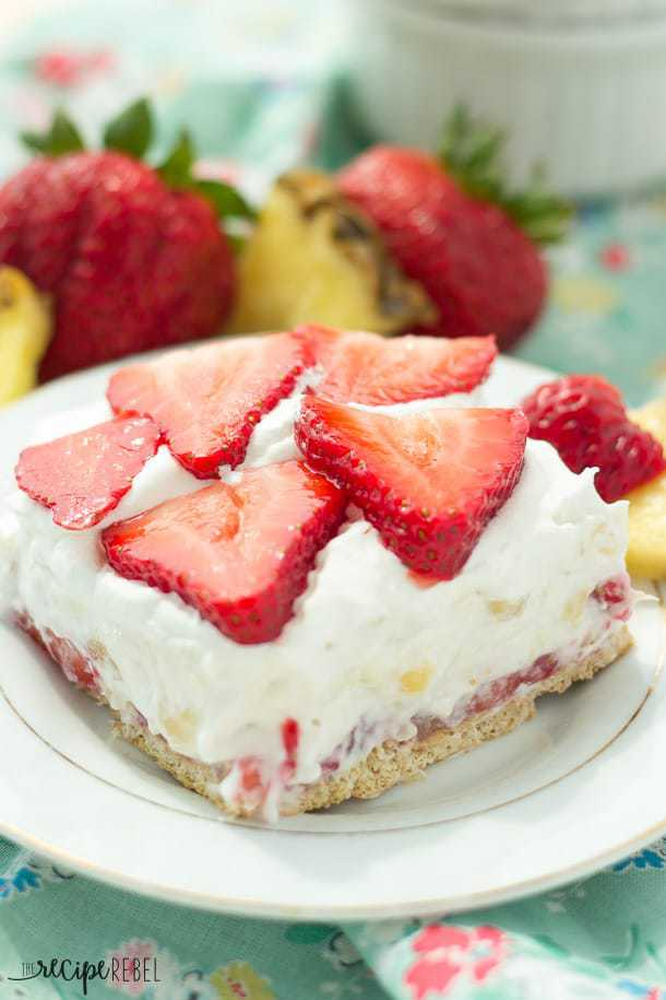 Light Strawberry Pineapple No-Bake Cheesecake-- Part of 30 Pineapple Recipes for your Sweet Summertime Cravings