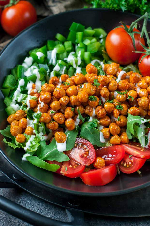 Buffalo-sauced eats don't have to be unhealthy and salads can be anything but boring! This Buffalo Chickpea Salad is super easy to make, loaded withveggies, and delivers a much needed high-five to the tastebuds. Try it today!