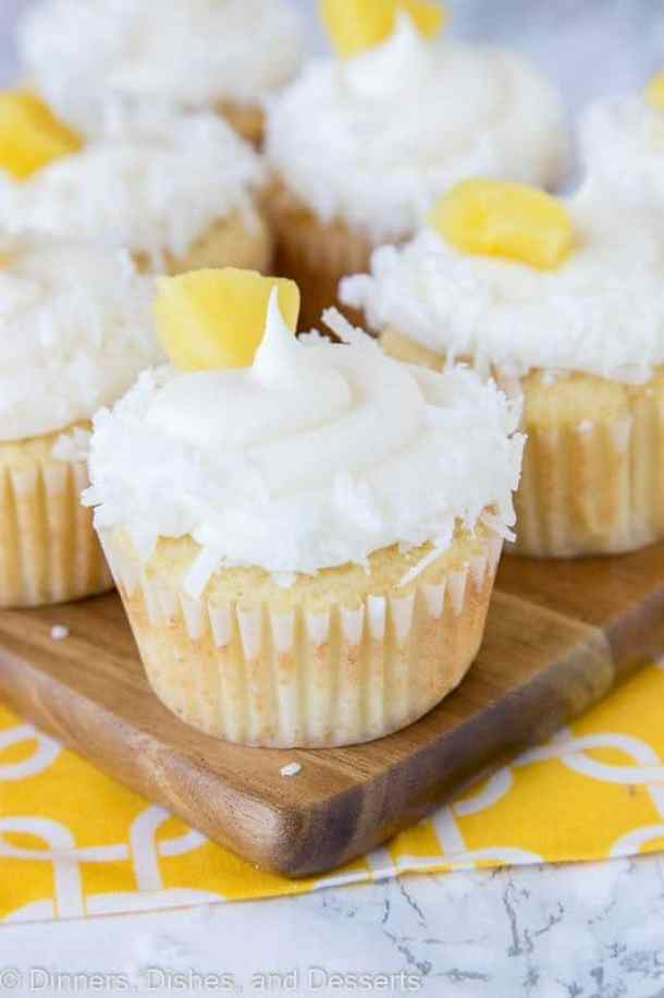 Pineapple Coconut Cupcakes-- Part of 30 Pineapple Recipes for your Sweet Summertime Cravings
