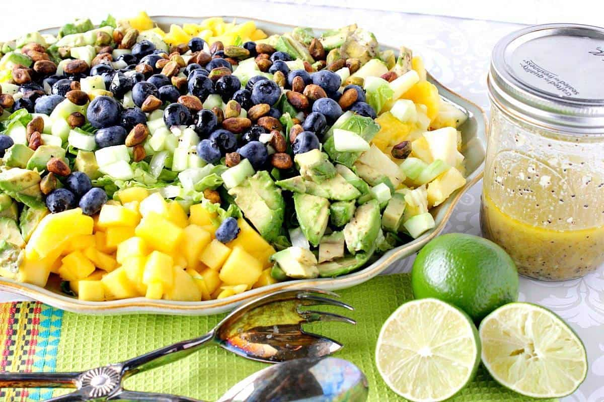 Heart Healthy Avocado Mango Salad With Lime Poppy Seed Vinaigrette is a brightly flavored and satisfying salad. It makes a delicious dinner all by itself.Or for some added protein adda little cooked chicken breast or turkey. Your call. Your salad.