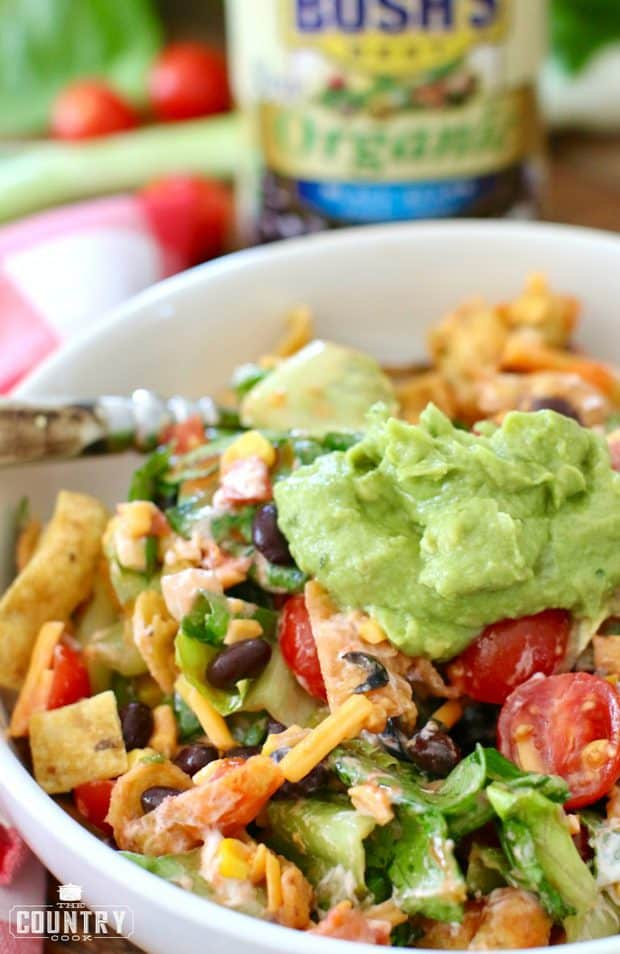 This salad is so filling (black beans have lots of fiber and protein!) that you won't even miss the meat!