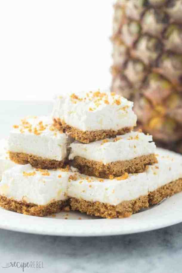 Mom's (Almost) No Bake Pineapple Squares-- Part of 30 Pineapple Recipes for your Sweet Summertime Cravings