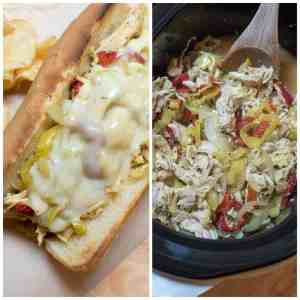 Crock Pot Chicken Philly Cheesesteak Sandwiches