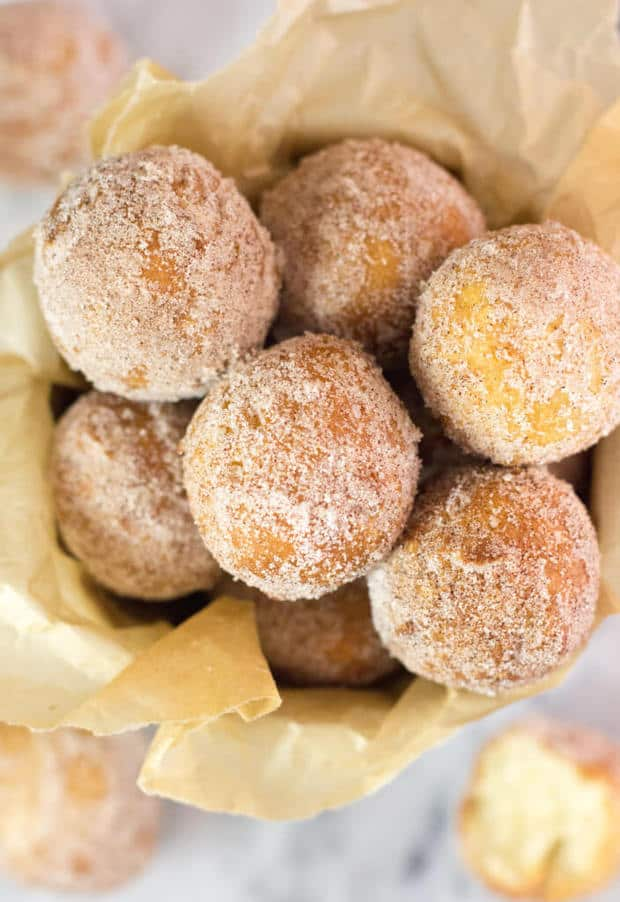 Easy, from-scratch, no yeast donut holes! These homemade donuts can be mixed up and fried in minutes! A great guide for making donuts on your own at home!