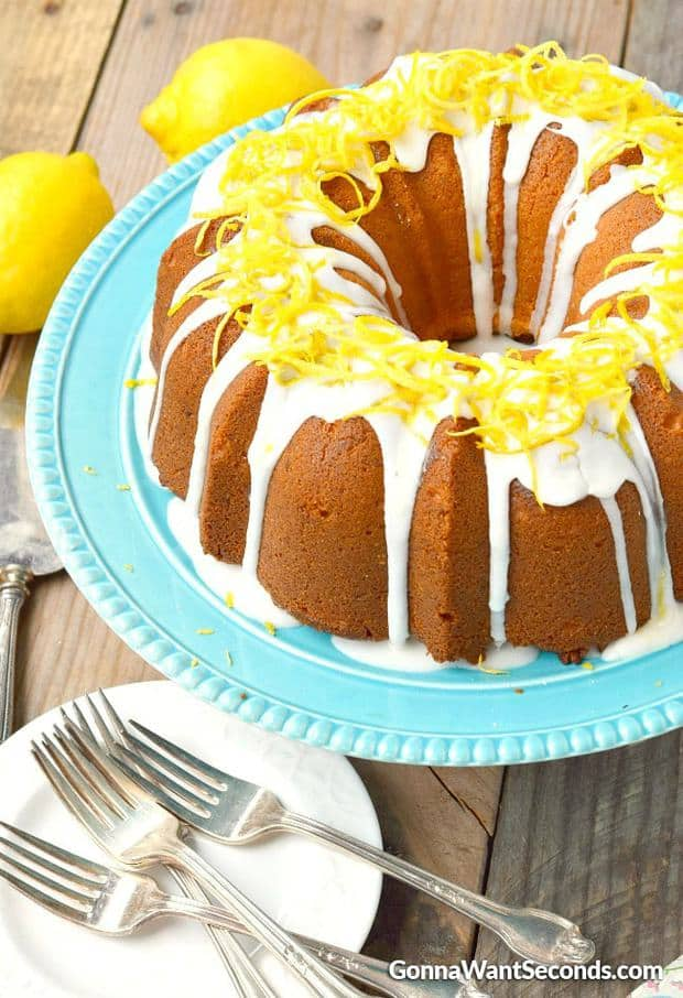 Lemon Cream Cheese Pound Cake is deliciously tender and moist with just the right amount of lemon flavoring. Topped with a lovely lemon glaze! It's easy to make and is always a hit.