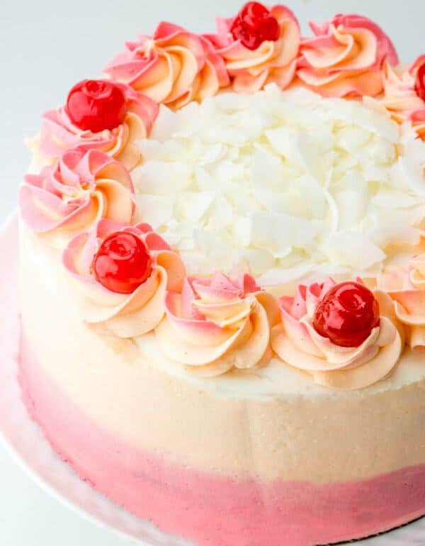 A fun delicious cake reminiscent of the popular drink this Malibu Sunset Layer Cake is a great cake for the long hot summers!