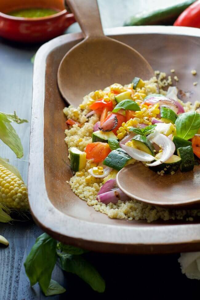 15 Grilled Summer Vegetable Quinoa Salad with Basil Vinaigrette