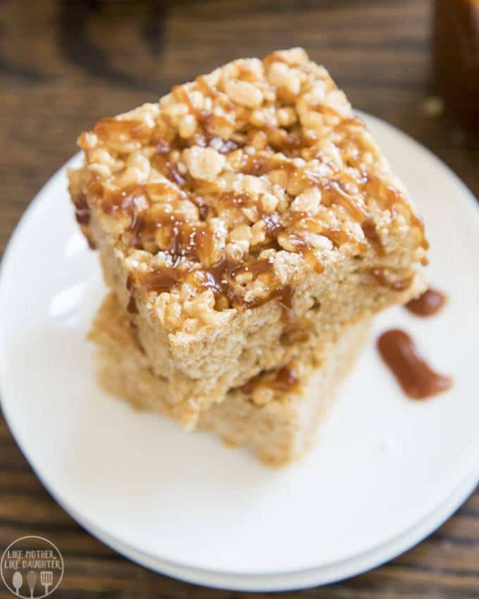 Salted Caramel Rice Krispie Treats are classic rice krispie treats made even better with the delicious addition of a rich homemade salted caramel sauce!