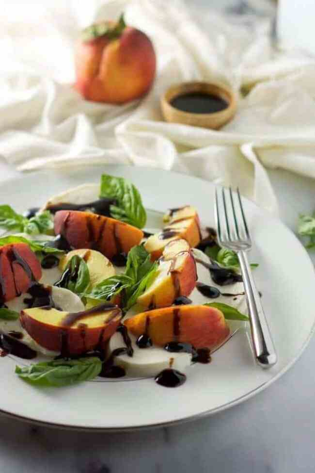 2 Summer Peach Caprese Salad