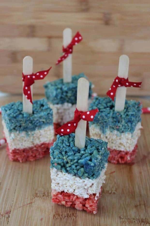 21 Patriotic Rice Krispies Treats Pops