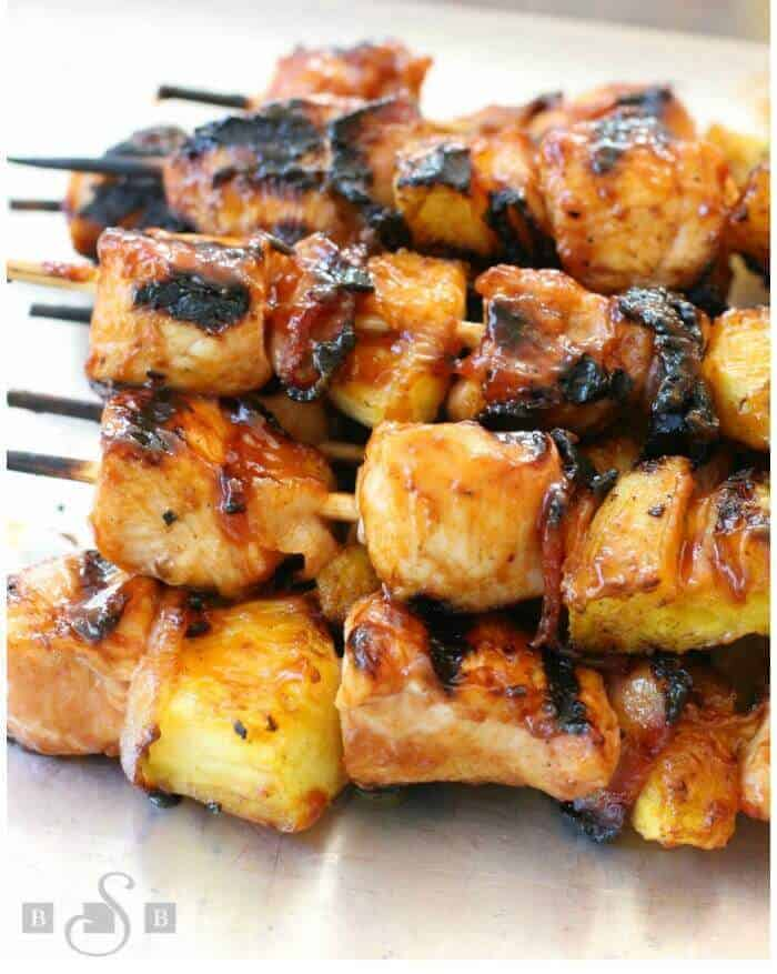 BBQ Chicken Bacon Pineapple Kabobs