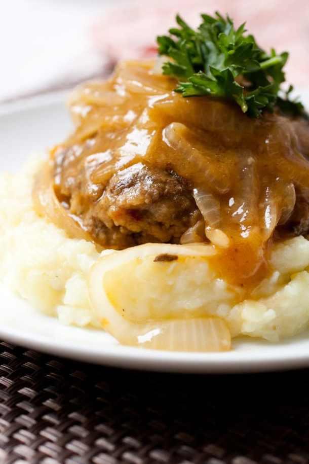 Homemade Salisbury Steak -- part of Old Fashioned Hamburger Steaks with Mushroom Onion Gravy