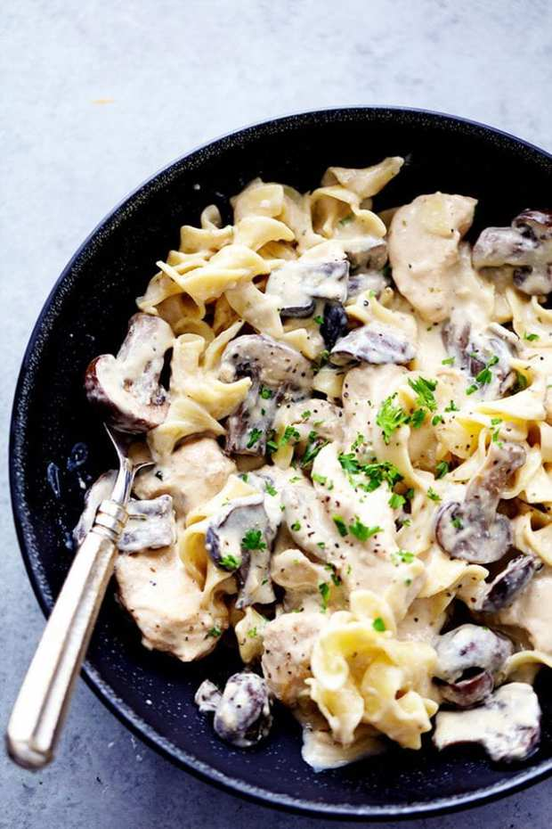 Slow Cooker Chicken and Mushroom Stroganoff takes just minutes to throw in the slow cooker! It is incredibly creamy and delicious and will become an instant family favorite!