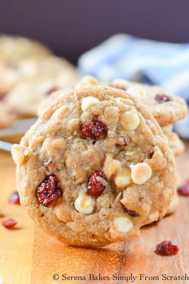 An easy recipe for Cranberry Oatmeal White Chocolate Chip Cookies. They are soft, chewy, and the perfect addition to holiday cookie trays.
