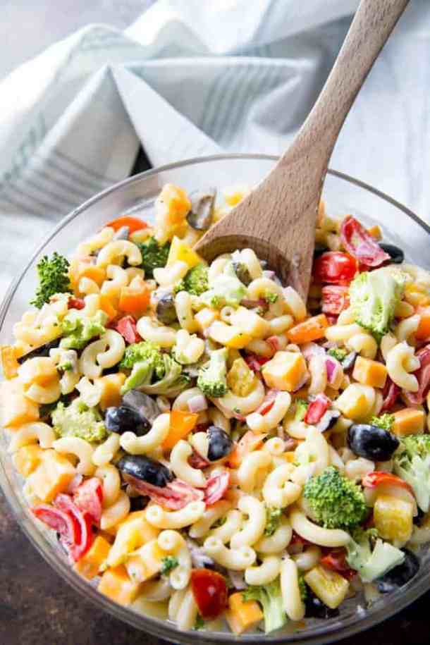 Rainbow Macaroni Salad -- part of The Best Picnic and Potluck Recipes