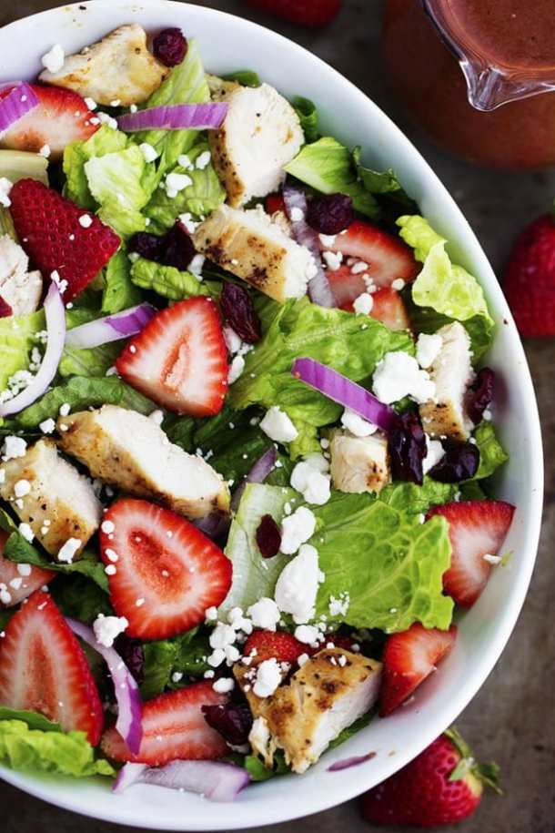 Strawberry Chicken Salad with Strawberry Balsamic Dressing -- part of The Best Picnic and Potluck Recipes