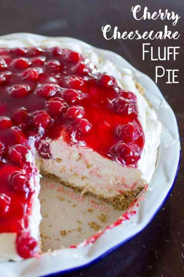 No-Bake Cherry Cheesecake Fluff Pie