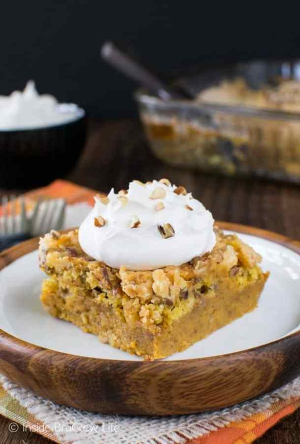 Easy Pumpkin Crunch Cobbler -- part of GRANDMA'S FAVORITE OLD FASHIONED COBBLER RECIPES