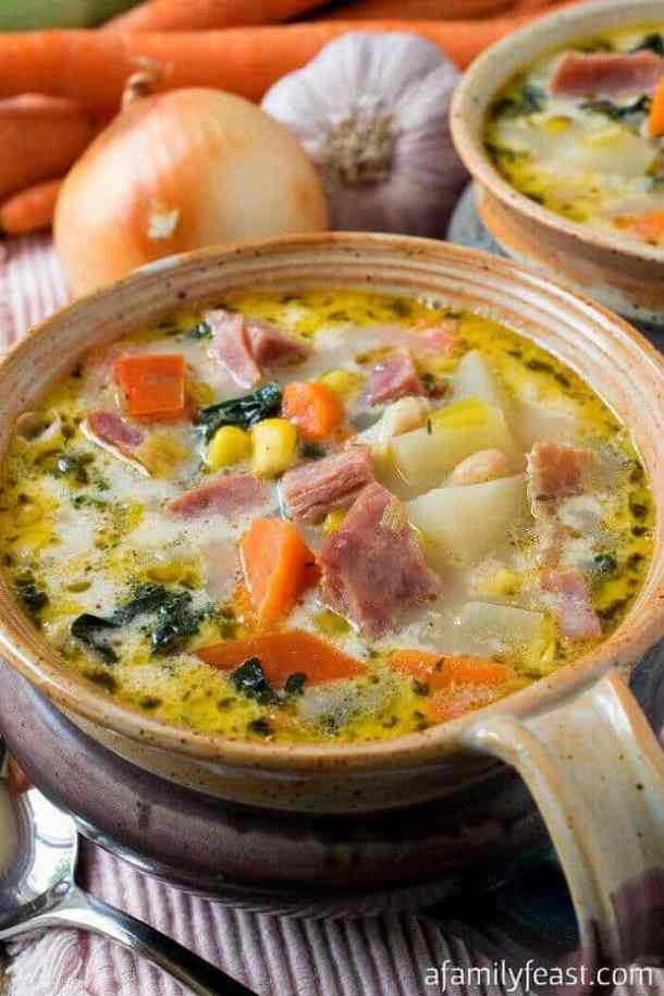 Ham and Vegetable Soup -- part of Hearty Soups that make the perfect weeknight dinner for your family