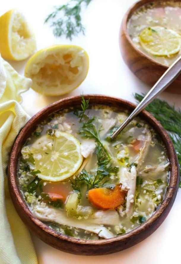 LEMON CHICKEN SOUP WITH CAULIFLOWER RICE -- PART OF OUR 20 MUST MAKE LEMON CHICKEN RECIPES