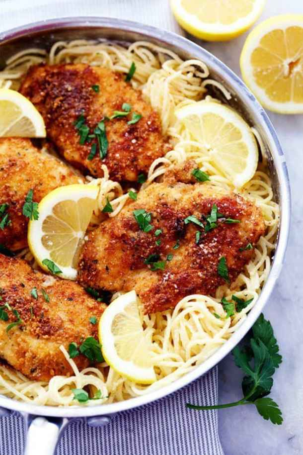CRISPY PARMESAN CHICKEN WITH CREAMY LEMON GARLIC PASTA -- PART OF OUR 20 MUST MAKE LEMON CHICKEN RECIPES