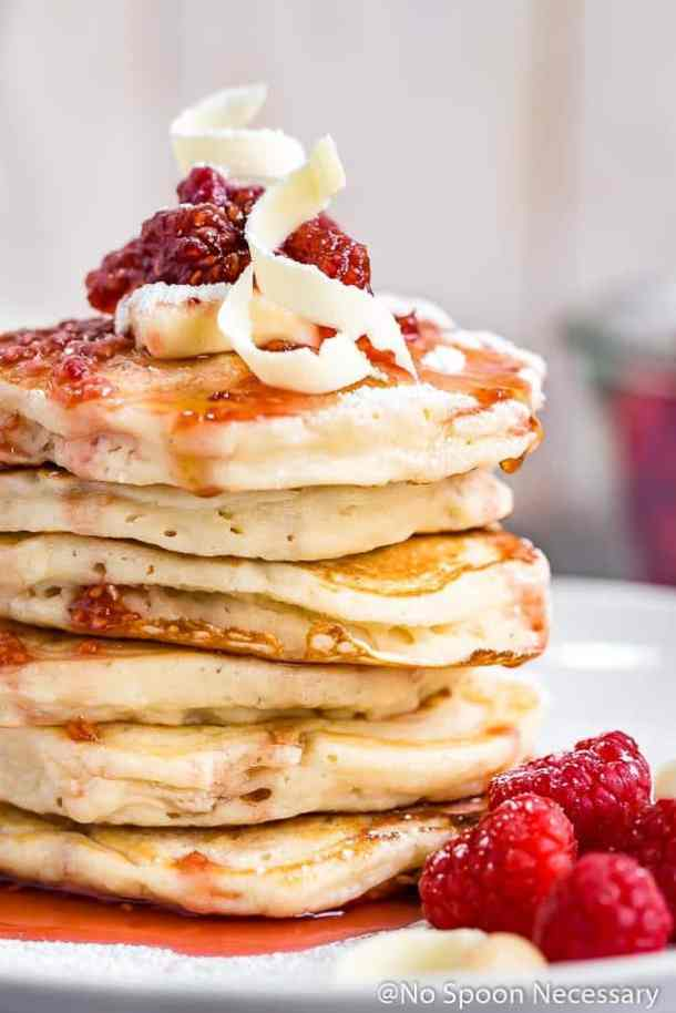 Macadamia Nut Pancakes {with Raspberry Maple Syrup & White Chocolate Shavings-- Part of THE BEST PANCAKE RECIPES