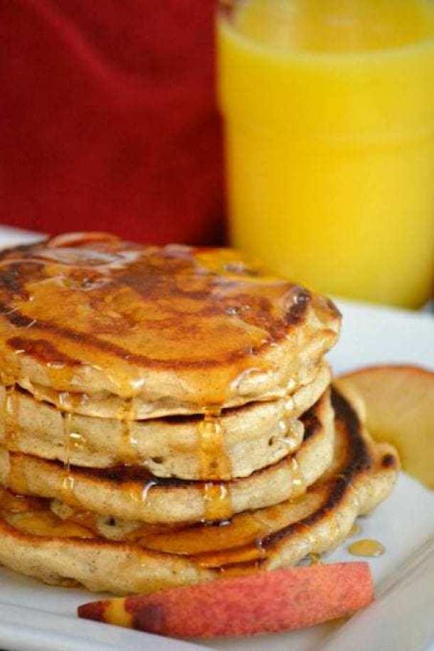 Cinnamon Peach Pancakes-- Part of THE BEST PANCAKE RECIPES