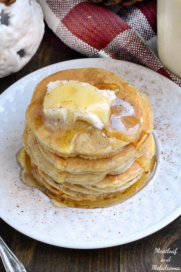 These pancakes are super easy to make! Basically, you just make a few changes to your favorite pancake recipe and use eggnog instead of milk.