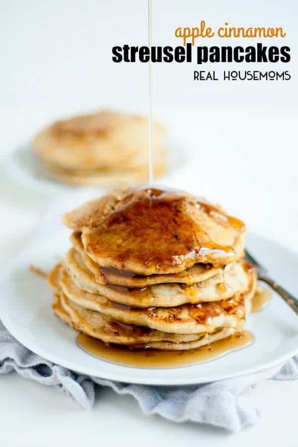 These apple cinnamon streusel pancakes are fall on a plate and totally worth the extra bit of effort they may take. Save these pancakes for a Sunday morning when you're not in a hurry to rush out the door. You won't be sorry I promise