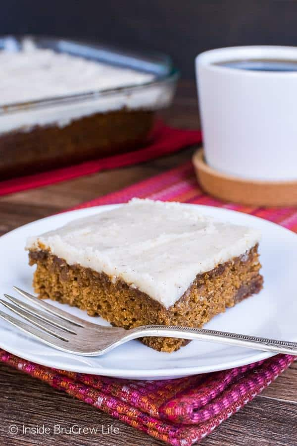 This spicy and denseApple Butter Cakeis topped with a brown butter vanilla frosting. This is a delicious dessert for fall parties.