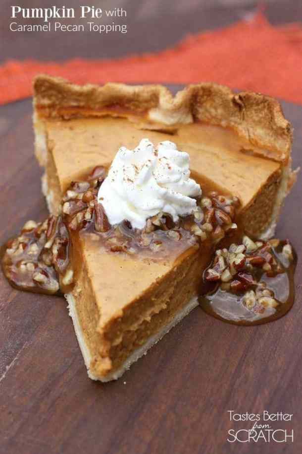 PUMPKIN PIE WITH PECAN CARAMEL TOPPING