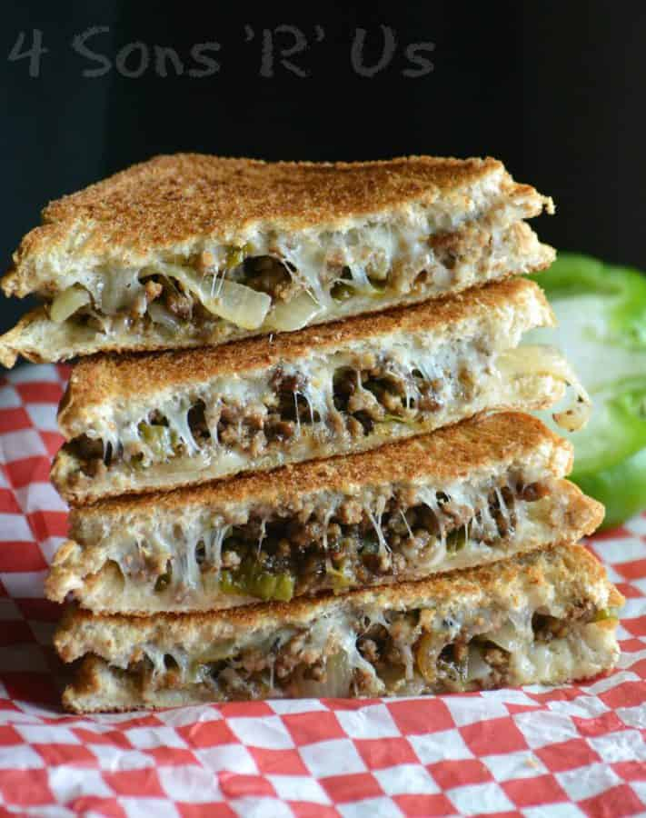 Ground beef is studded with green bell pepper and caramelized onions sandwiched between two layers of melted provolone cheese on perfectly toasted bread, this Ground Beef Philly Cheesesteak Grilled Cheese is the sandwich thrill-eaters have been longing for.