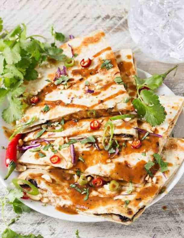 Thai Peanut Chicken Quesadillas--Part of THe Best Quesadillas Recipes