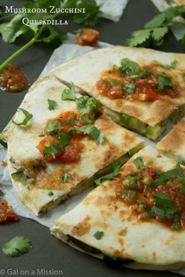 Mushroom Zucchini Quesadillas--Part of THe Best Quesadillas Recipes