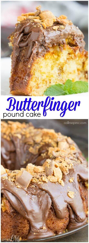 Butterfinger Pound Cake with Chocolate Ganache