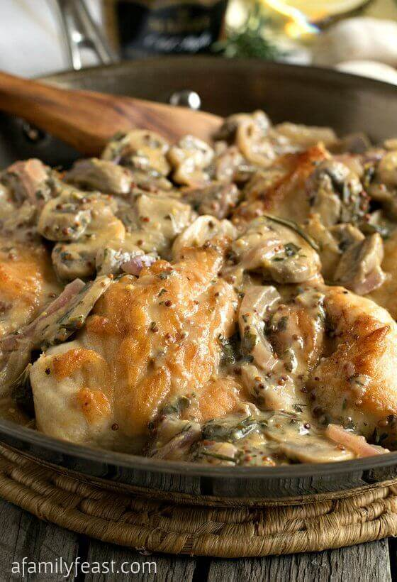 Tender boneless chicken breasts are sautéed with sliced mushrooms and onions, then smothered in a rich, creamy sauce that has been flavored with a mix of traditional Dijon as well as whole-grain Dijon mustard, plus rosemary and other herbs and spices.