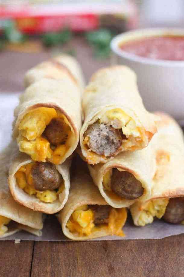 Egg and Sausage Breakfast Taquitos -- part of Cheesy Breakfast Recipes PERFECT for Saturday Mornings