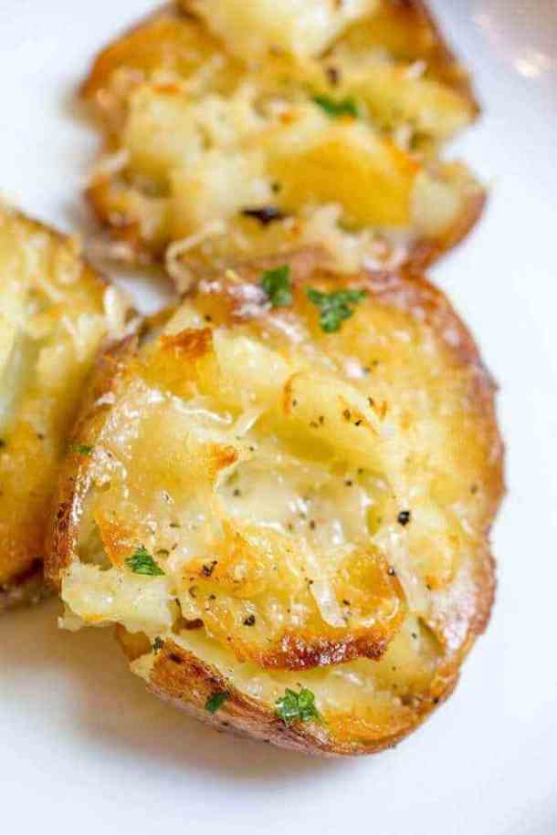 Parmesan Garlic Crash Hot Potatoes -- part of Loaded Potato Recipes that make the PERFECT Dinner Side Dish