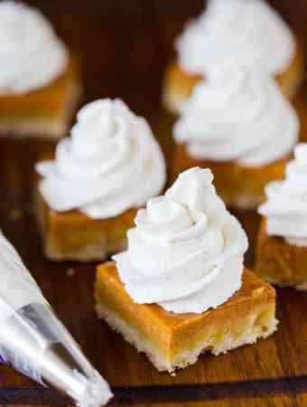 Pumpkin Pie Shortbread Bars with maple Cinnamon Whipped Cream