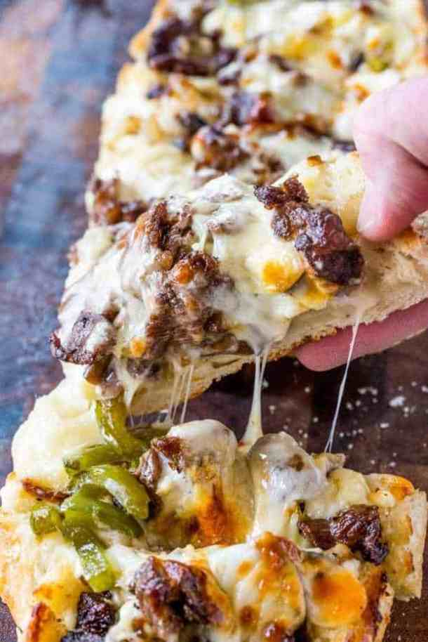 Philly Cheese Steak Cheesy Bread -- Part of The Best Philly Cheesesteak Recipes