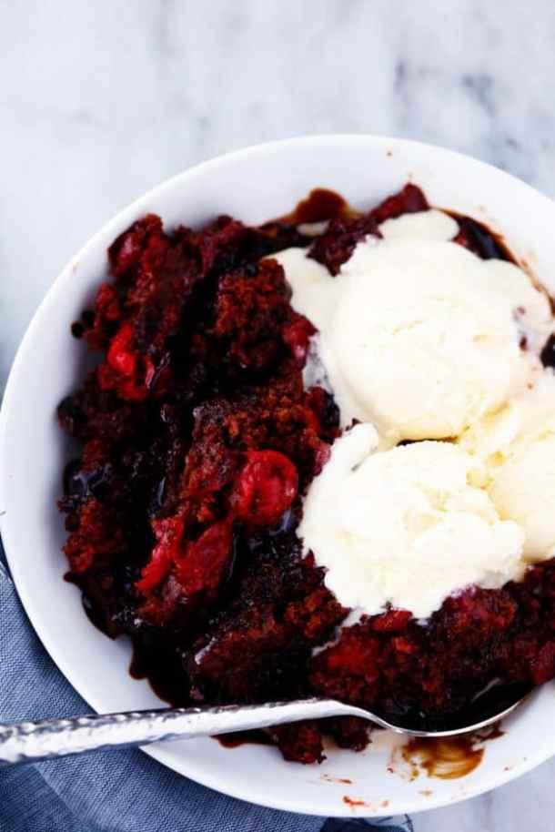 Slow Cooker Cherry Hot Fudge Cake -- Part of The Best Hot Fudge Dessert Recipes