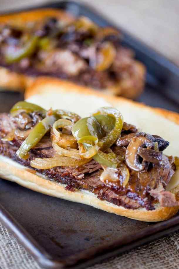 Slow Cooker Philly Cheesesteak Sandwiches -- Part of The Best Philly Cheesesteak Recipes