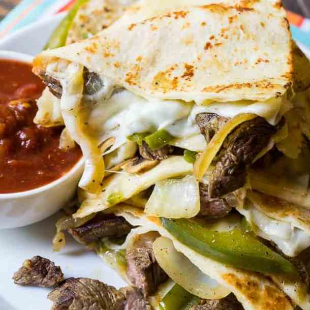 Philly Cheese Steak Quesadillas -- Part of The Best Philly Cheesesteak Recipes