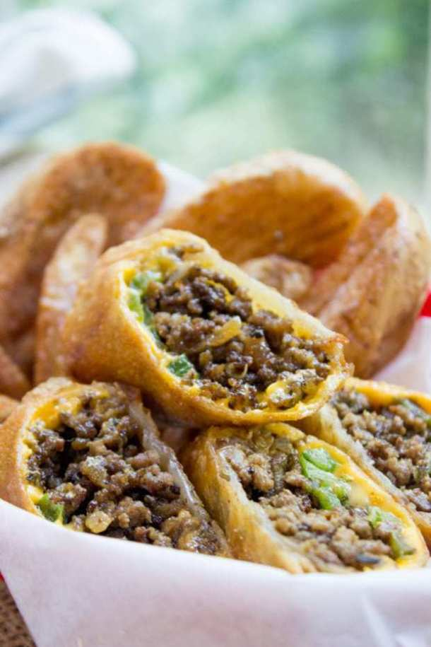 Philly Cheesesteak Egg Rolls -- Part of The Best Philly Cheesesteak Recipes